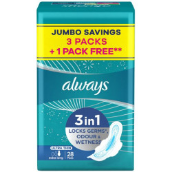 Always Ultra Thin Extra Long Sanitary Pads With Wings - 28 Pieces