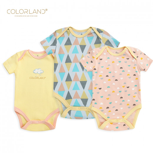 Colorland - (6) Baby Bodysuit 3 Pieces In One Pack,3-6 Months, Clouds