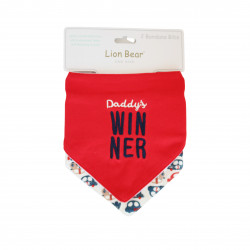 Red Cotton Bib with Quot ( Daddy Win Here )