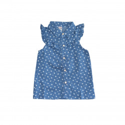 Girls' Blue Shirt with White Drawing, 18-24 Months