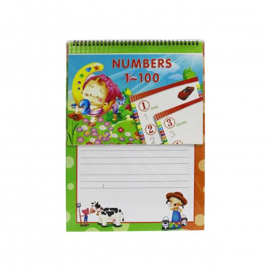 دفتر صغير أخضر لتعلم الأرقام بالانجليزية 1 -100