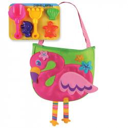 حقيبة يد لأدوات الشاطئ  مع مجموعة اللعب الرملية ،بشكل  فلامينغو من ستيفن جوزيف