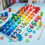 ألعاب خشبية تعليمية للأطفال لوحة مشغولة للرياضيات لصيد الأسماك ما قبل المدرسة الخشبية للأطفال