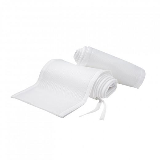 بطانة سرير أطفال شبكية مسامية للتنفس باللون الأبيض الكلاسيكي ومضادة للصدمات